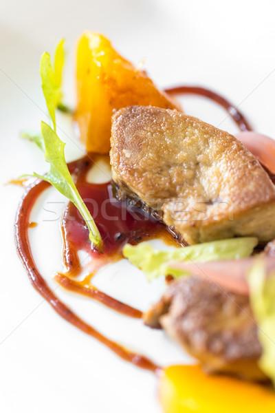 焼き フライド グルメ フランス料理 緑 プレート ストックフォト © vichie81