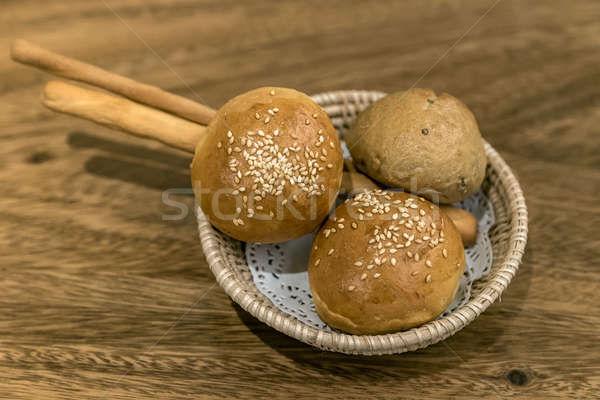ストックフォト: ディナー · ロール · パン · 食品 · 木材 · 背景