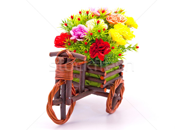 beautiful and colorful flower bouquet in wooden basket in car sh Stock photo © vichie81