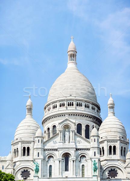 Montmartre Párizs Franciaország katedrális fa fű Stock fotó © vichie81