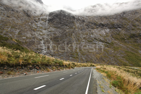 Mountains range with waterfall along Milford Sound road ,fiordla Stock photo © vichie81