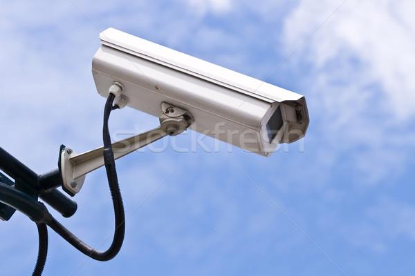 Cctv biztonsági kamera kék ég üzlet technológia biztonság Stock fotó © vichie81