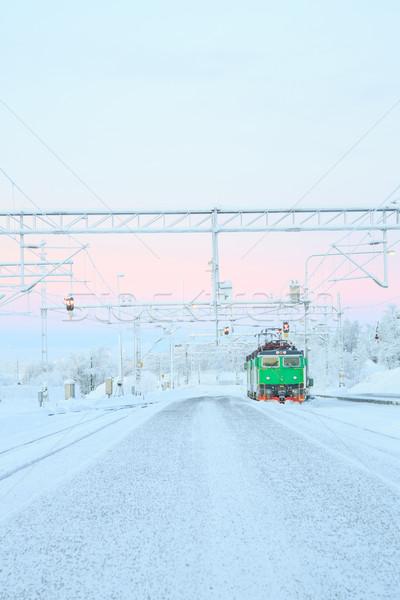 Groene trein locomotief station technologie Stockfoto © vichie81