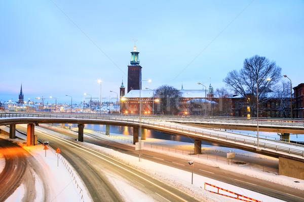 Stockholm akşam karanlığı taşımacılık ışık iz İsveç Stok fotoğraf © vichie81