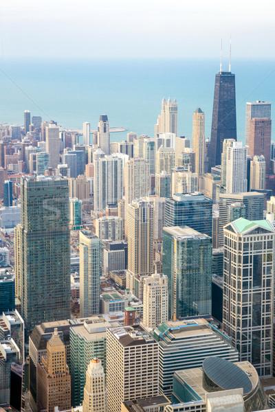 Chicago város belváros légifelvétel égbolt kék Stock fotó © vichie81