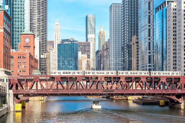 Chicago şehir merkezinde nehir köprüler gökyüzü ofis Stok fotoğraf © vichie81