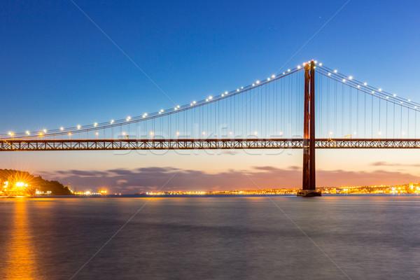 Лиссабон моста сумерки Cityscape На 25 висячий мост Сток-фото © vichie81