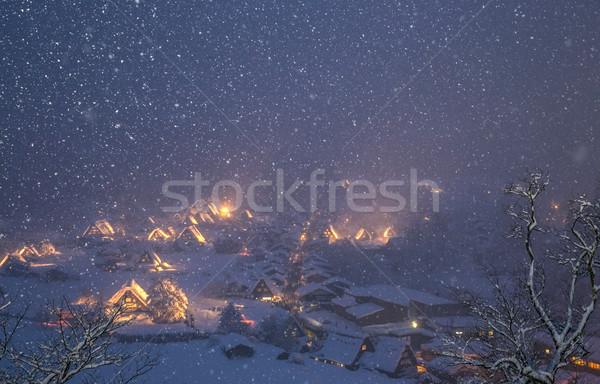 Queda de neve Japão edifício rua neve inverno Foto stock © vichie81