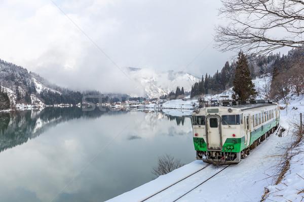 Сток-фото: поезд · зима · пейзаж · снега · деревне · озеро