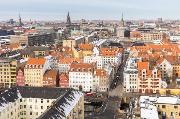 Koppenhága légifelvétel Dánia víz épület tenger Stock fotó © vichie81