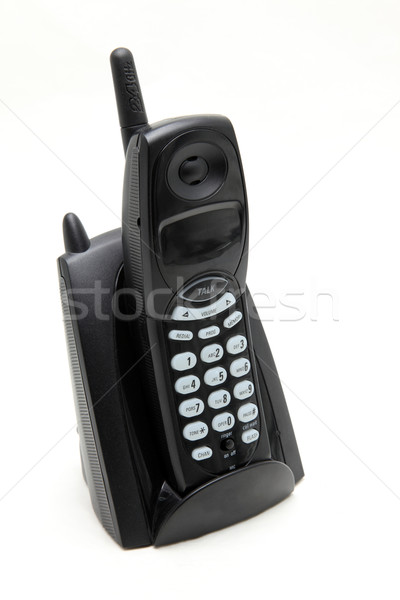 isolated black cordless phone on white side perspective Stock photo © vichie81