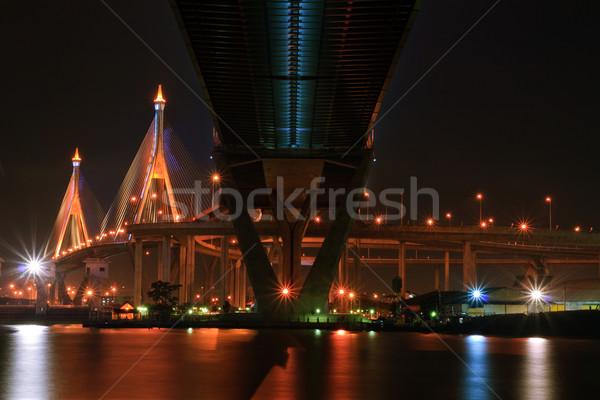 Mega csúzli híd Bangkok kikötő égbolt Stock fotó © vichie81