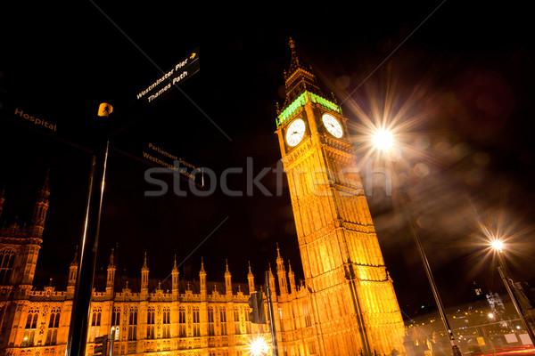 Big Ben noite paisagem edifício cidade pôr do sol Foto stock © vichie81