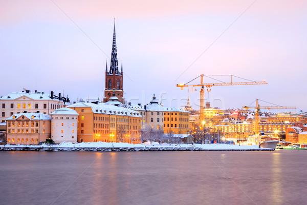 Starówka Sztokholm miasta zmierzch Szwecja Cityscape Zdjęcia stock © vichie81
