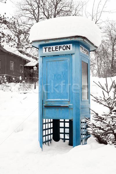 Blauw telefoon kraam sneeuw Stockholm Zweden Stockfoto © vichie81