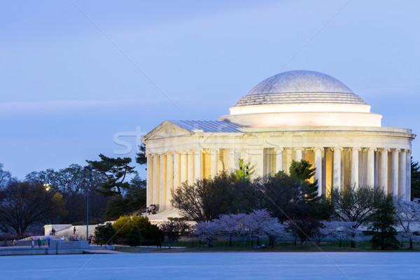 Stok fotoğraf: Bina · akşam · karanlığı · Washington · DC · seyahat · ufuk · çizgisi · göl