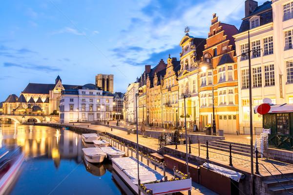 Belçika resmedilmeye değer ortaçağ binalar nehir kasaba Stok fotoğraf © vichie81