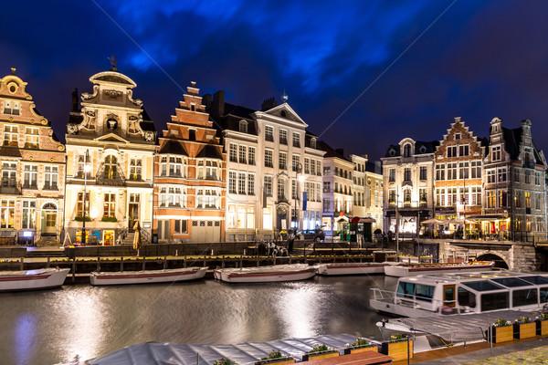 óváros Belgium festői középkori épületek folyó Stock fotó © vichie81