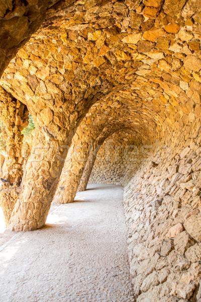 公園 バルセロナ スペイン 波 市 庭園 ストックフォト © vichie81