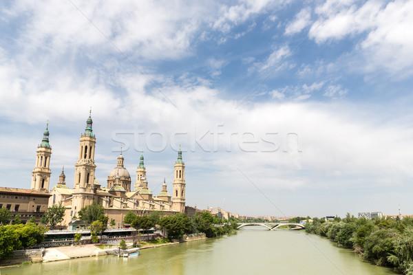 Bazilika katedrális Spanyolország hölgy oszlop folyó Stock fotó © vichie81