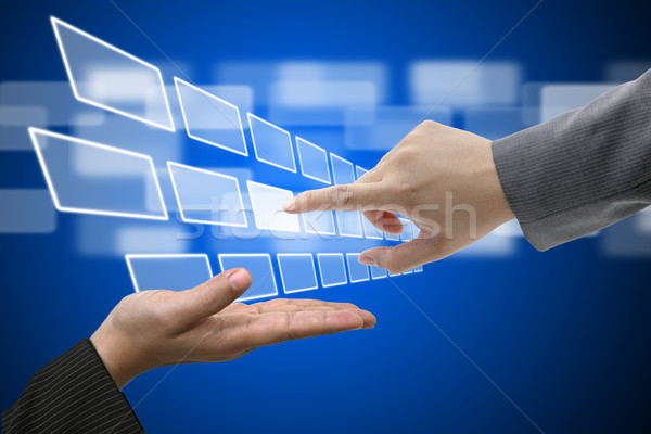 Technologie Touchscreen Schnittstelle Business Hand Stock foto © vichie81