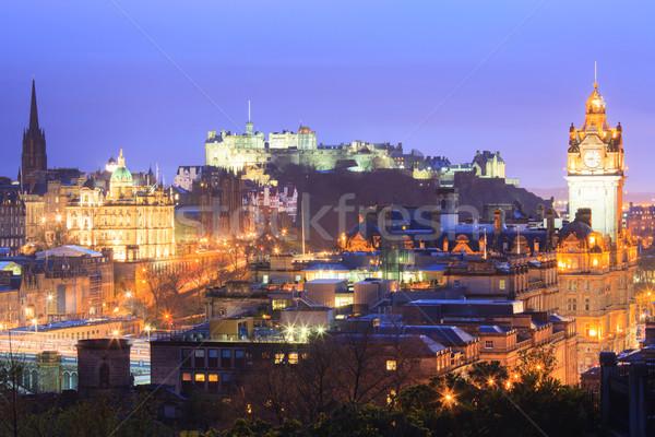 Edinburgh zmierzch Cityscape Hill Szkocji miasta Zdjęcia stock © vichie81