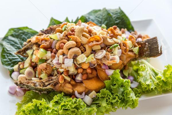 Mély sült hal saláta thai stílus Stock fotó © vichie81