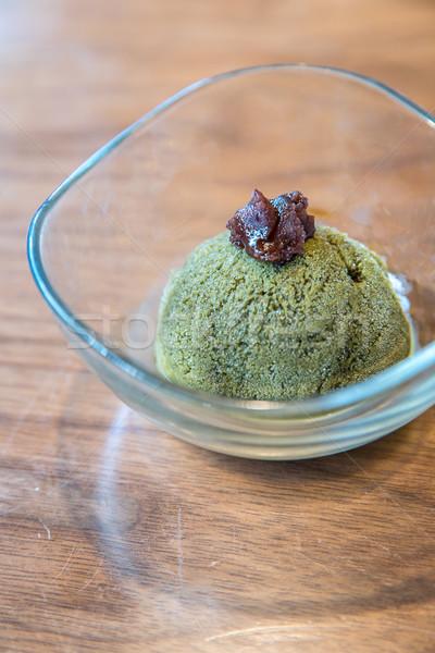 Zöld tea fagylalt házi tea eszik desszert Stock fotó © vichie81