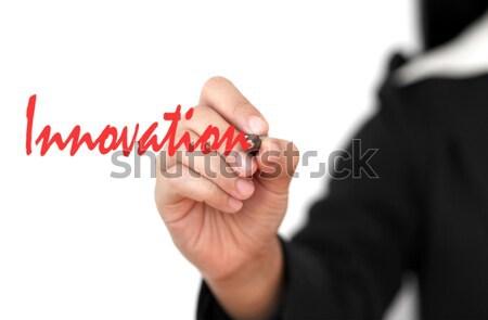 Innovación Asia mujer de negocios mano escrito palabra Foto stock © vichie81