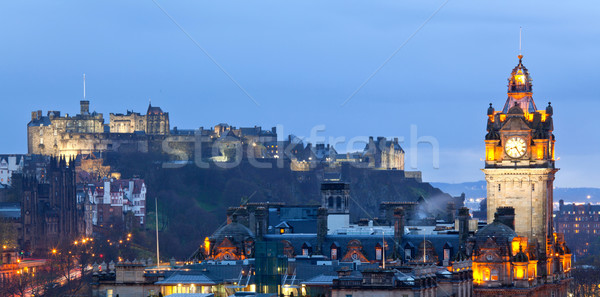 Edinburgh panoráma városkép domb alkonyat Skócia Stock fotó © vichie81