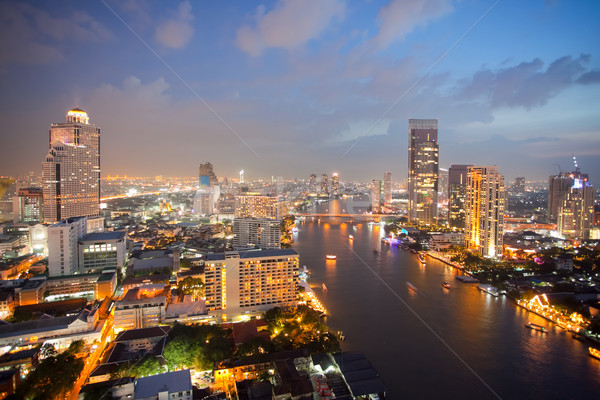 Légifelvétel Bangkok sziluett folyó alkonyat égbolt Stock fotó © vichie81