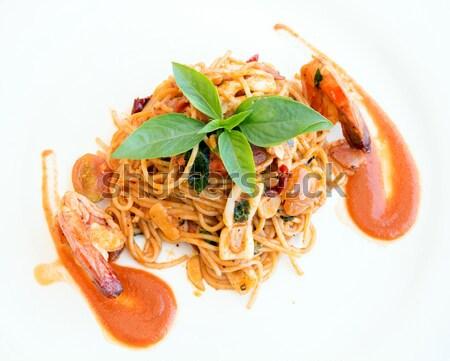 Zeevruchten spaghetti tijger garnaal maaltijd keuken Stockfoto © vichie81