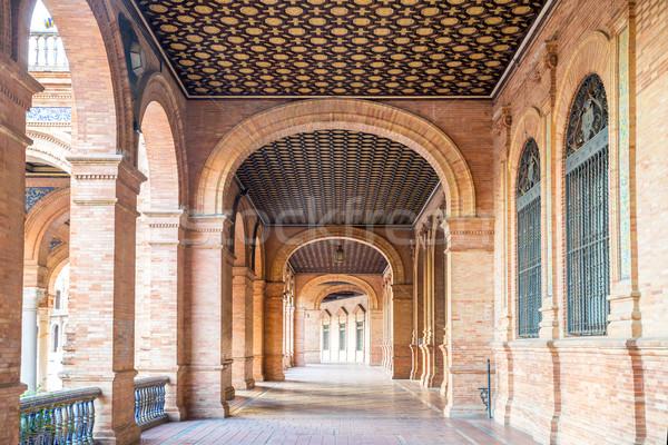 Corridor of Spanish Square Sevilla Spain Stock photo © vichie81