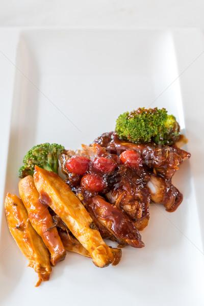 豚肉 リブ 焼き フライド ジャガイモ 白 ストックフォト © vichie81