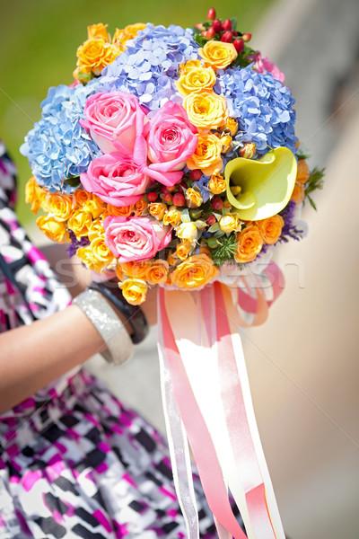 Mooie hand bloem water bruiloft Stockfoto © vichie81