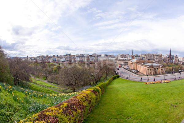 Эдинбург Шотландии Skyline саду закат Церкви Сток-фото © vichie81