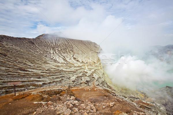 Stockfoto: Mijn · Indonesië · vulkaan · krater · java · eiland