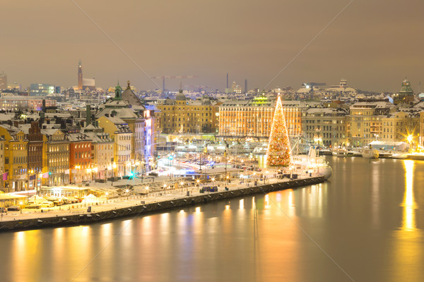 Stockholm İsveç ufuk çizgisi Cityscape gece Bina Stok fotoğraf © vichie81