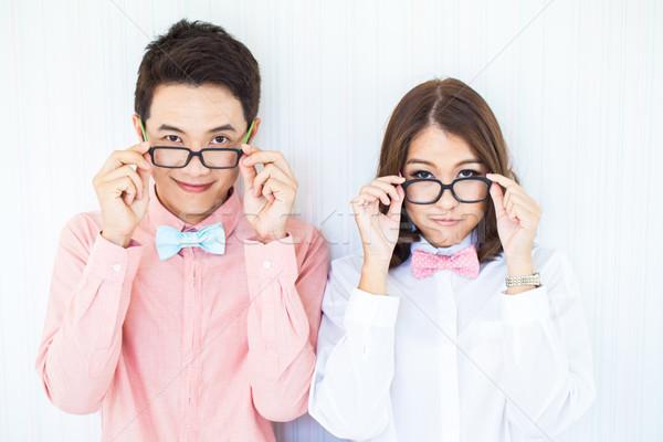 Feliz parejas salón inteligentes vestido ocasional cara Foto stock © vichie81