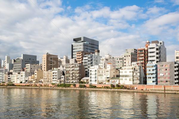 Tokió város városkép folyó Japán fa Stock fotó © vichie81