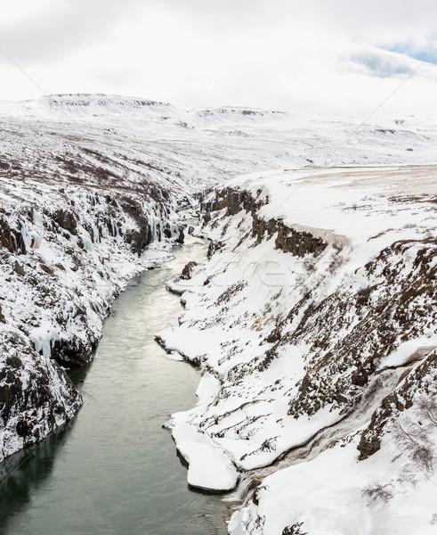 Inverno paisagem Islândia panorama rio penhasco Foto stock © vichie81