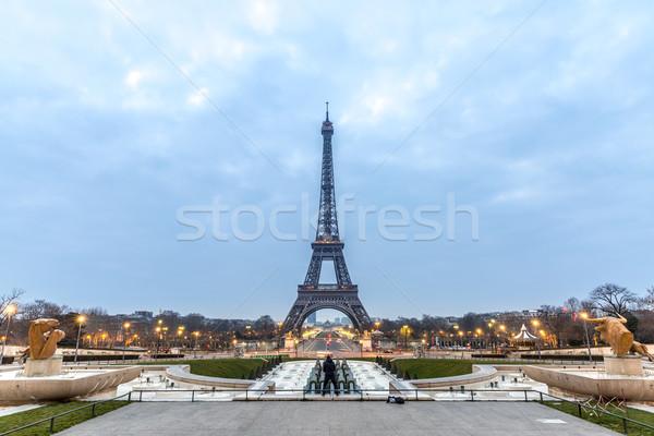 エッフェル塔 日の出 黄昏 パリ フランス 建物 ストックフォト © vichie81