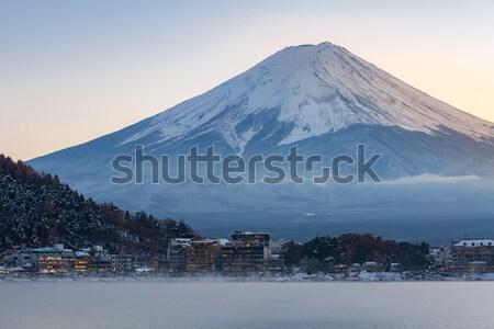 Foto stock: Montanha · fuji · ver · lago · paisagem · neve