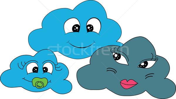 Bulutlu Hava Durumu Aile Ikon Tahmin Gokyuzu Vektor