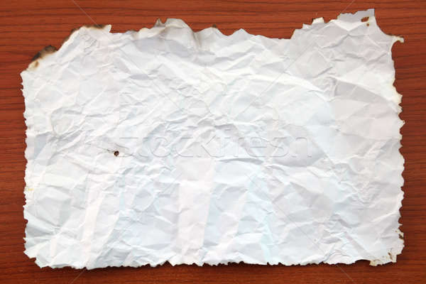 Wrinkled White paper attach on Wooden Board Stock photo © vichie81
