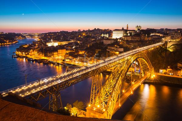 Dom Luiz bridge Porto at dusk Stock photo © vichie81