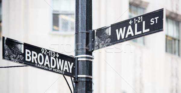 Wall Street broadway signo Nueva York dinero ciudad Foto stock © vichie81