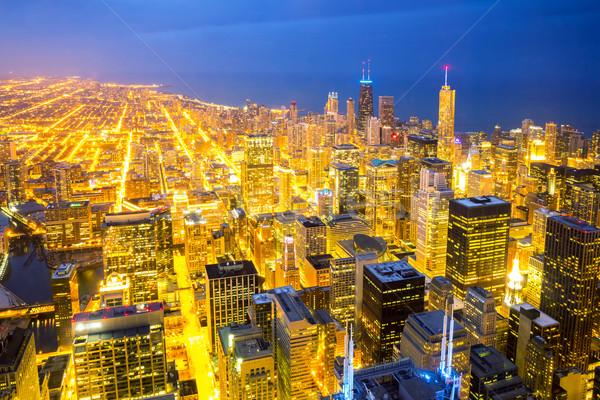 Aerial Chicago City dusk Stock photo © vichie81