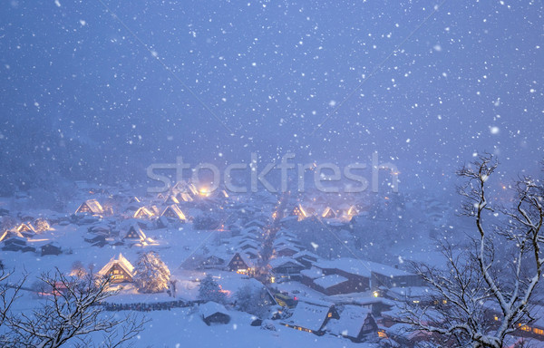 Hóesés Japán épület fény tél építészet Stock fotó © vichie81