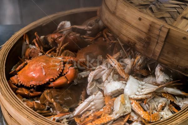 蒸気 カニ 料理 シーフード 蒸し器 バスケット ストックフォト © vichie81